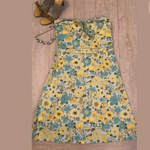 🌼TIBI  yellow blue floral Strapless Dress Size 4